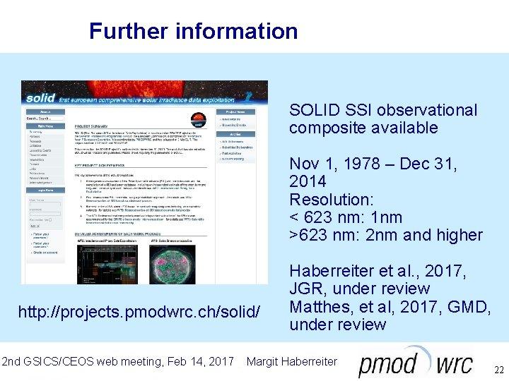 Further information SOLID SSI observational composite available Nov 1, 1978 – Dec 31, 2014