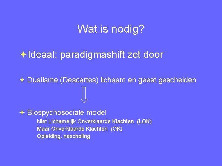 Wat is nodig? Ideaal: paradigmashift zet door Dualisme (Descartes) lichaam en geest gescheiden Biospychosociale