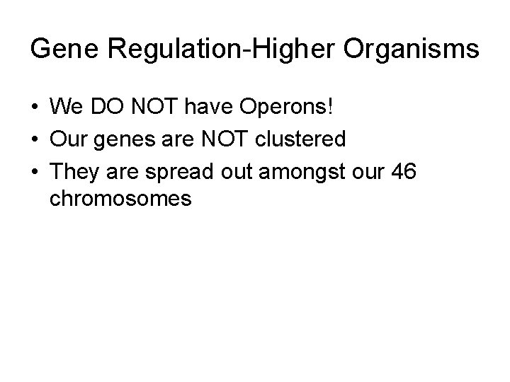 Gene Regulation-Higher Organisms • We DO NOT have Operons! • Our genes are NOT