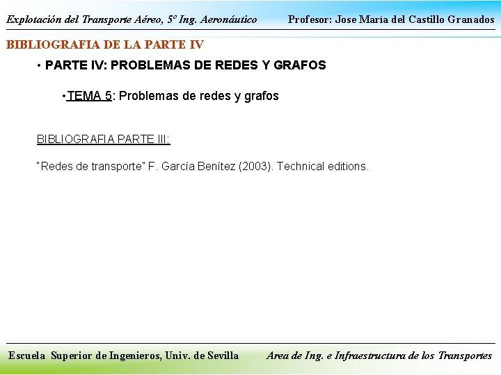 Explotación del Transporte Aéreo, 5º Ing. Aeronáutico Profesor: Jose María del Castillo Granados BIBLIOGRAFIA