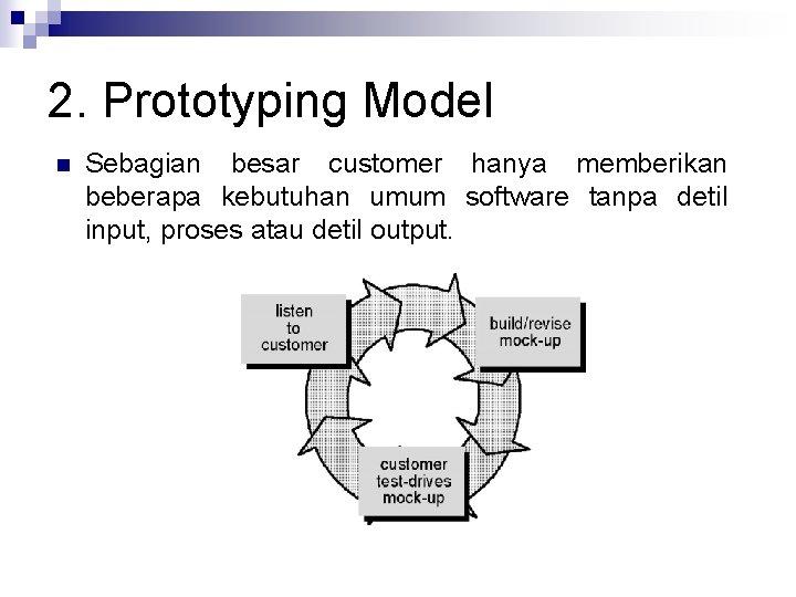 2. Prototyping Model n Sebagian besar customer hanya memberikan beberapa kebutuhan umum software tanpa