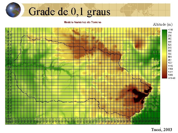 Grade de 0, 1 graus Altitude (m) Tucci, 2003