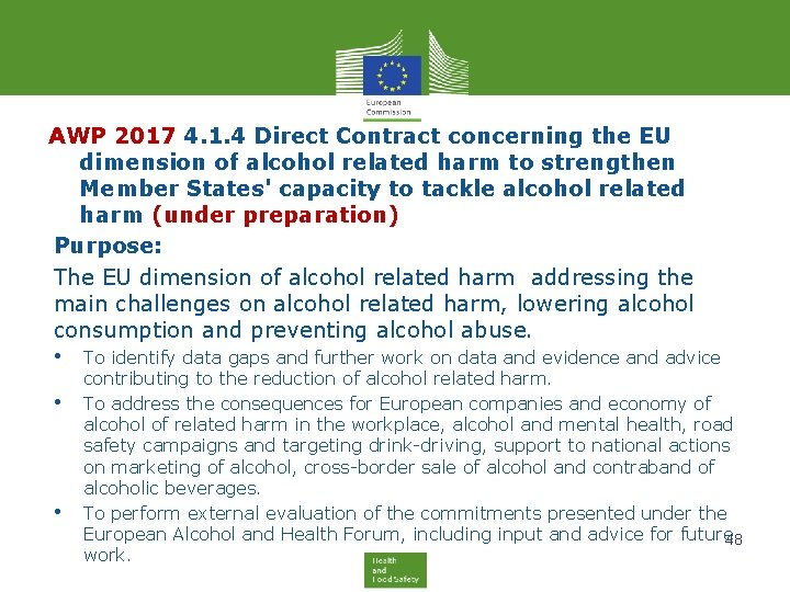AWP 2017 4. 1. 4 Direct Contract concerning the EU dimension of alcohol related