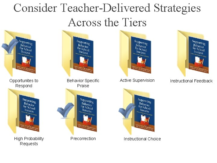 Consider Teacher-Delivered Strategies Across the Tiers Opportunites to Respond High Probability Requests Behavior Specific