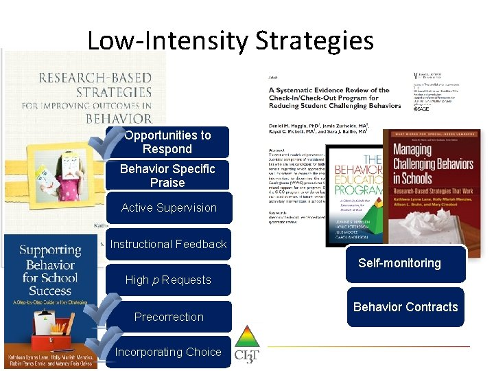 Low-Intensity Strategies Opportunities to Respond Behavior Specific Praise Active Supervision Instructional Feedback Self-monitoring High