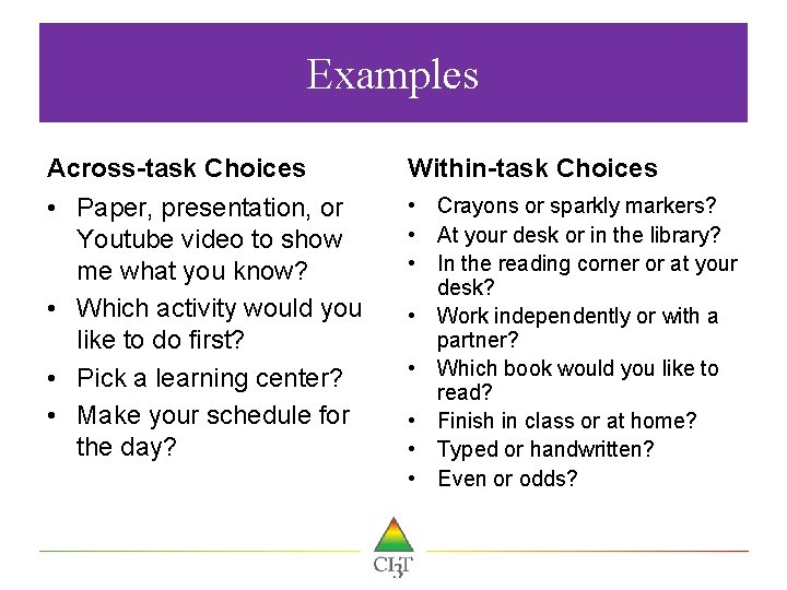 Examples Across-task Choices Within-task Choices • Paper, presentation, or Youtube video to show me