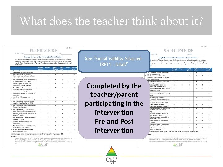 "What does the teacher think about it? See ""Social Validity Adapted. IRP 15 -"