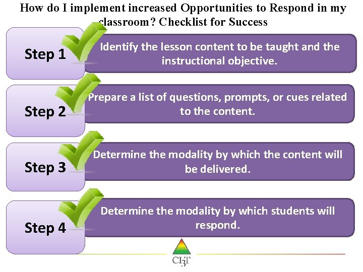 How do I implement increased Opportunities to Respond in my classroom? Checklist for Success