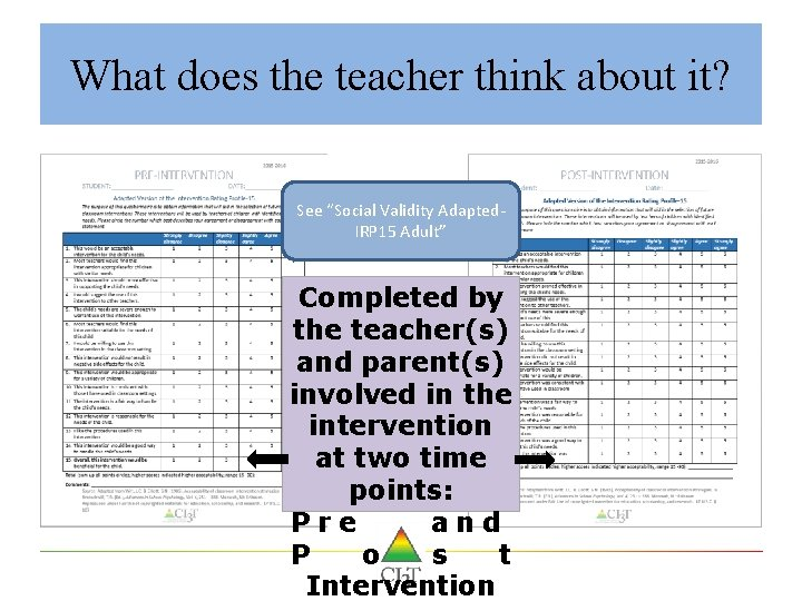 "What does the teacher think about it? See ""Social Validity Adapted. IRP 15 Adult"""