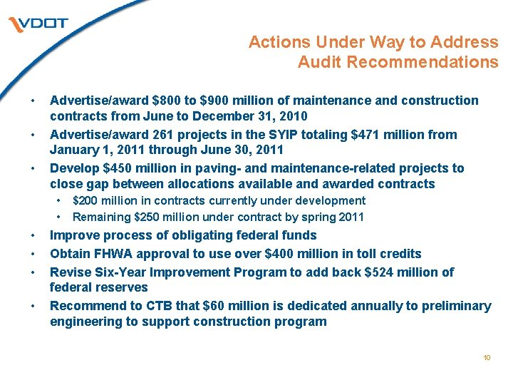 Actions Under Way to Address Audit Recommendations • • • Advertise/award $800 to $900
