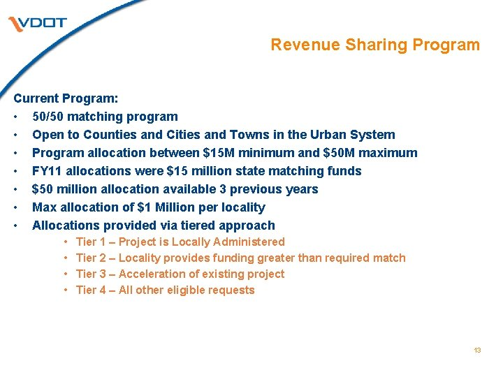 Revenue Sharing Program Current Program: • 50/50 matching program • Open to Counties and