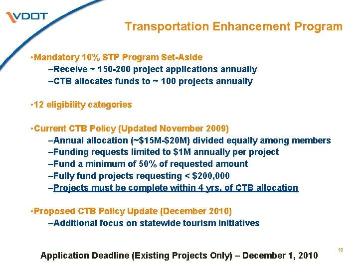 Transportation Enhancement Program • Mandatory 10% STP Program Set-Aside –Receive ~ 150 -200 project