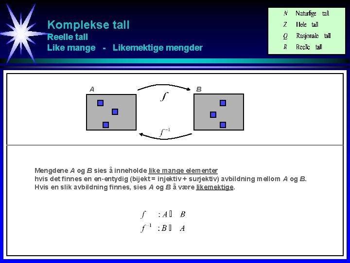 Komplekse tall Reelle tall Like mange - Likemektige mengder A B Mengdene A og