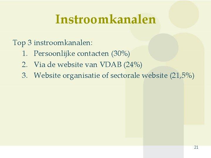 Instroomkanalen Top 3 instroomkanalen: 1. Persoonlijke contacten (30%) 2. Via de website van VDAB