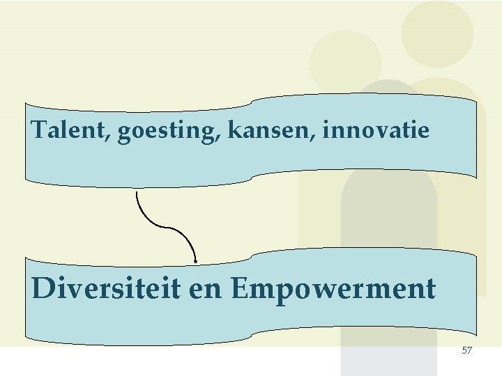 Talent, goesting, kansen, innovatie Diversiteit en Empowerment 57