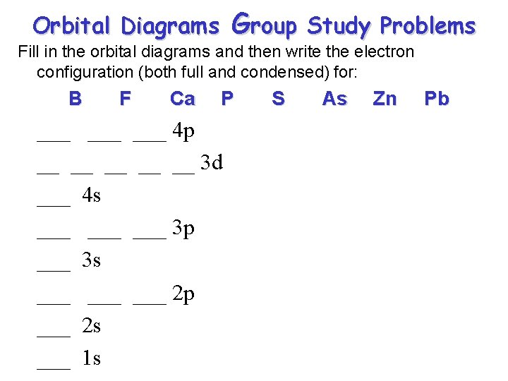 Group Orbital Diagrams Study Problems Fill in the orbital diagrams and then write the