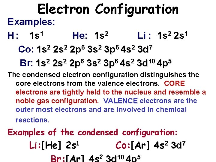 Electron Configuration Examples: H : 1 s 1 He: 1 s 2 Li :