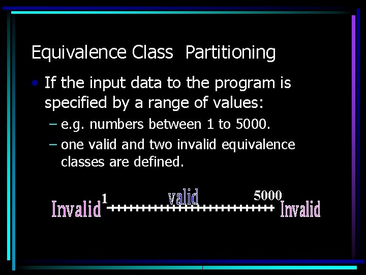 Equivalence Class Partitioning • If the input data to the program is specified by