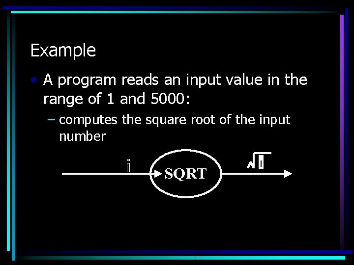 Example • A program reads an input value in the range of 1 and