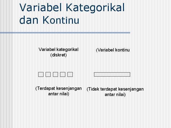 Variabel Kategorikal dan Kontinu Variabel kategorikal (diskret) (Terdapat kesenjangan antar nilai) (Variabel kontinu (Tidak