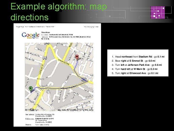 Example algorithm: map directions
