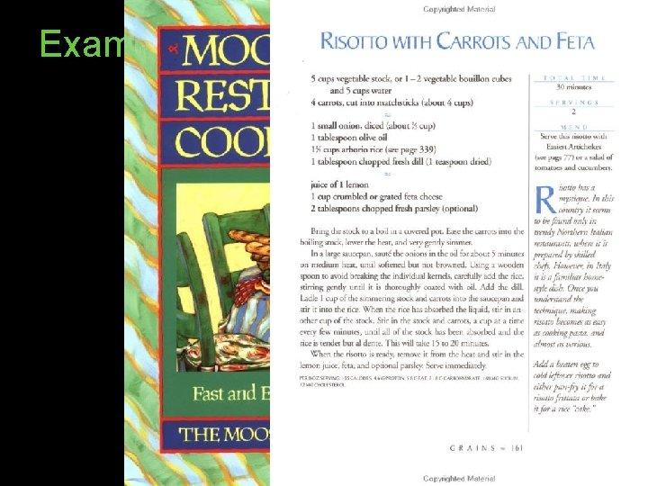 Example algorithm: Recipes