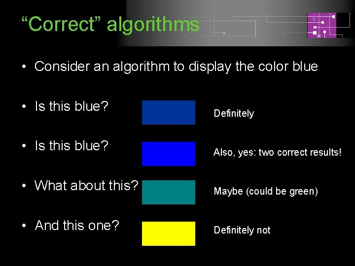 """""""Correct"""" algorithms • Consider an algorithm to display the color blue • Is this"""