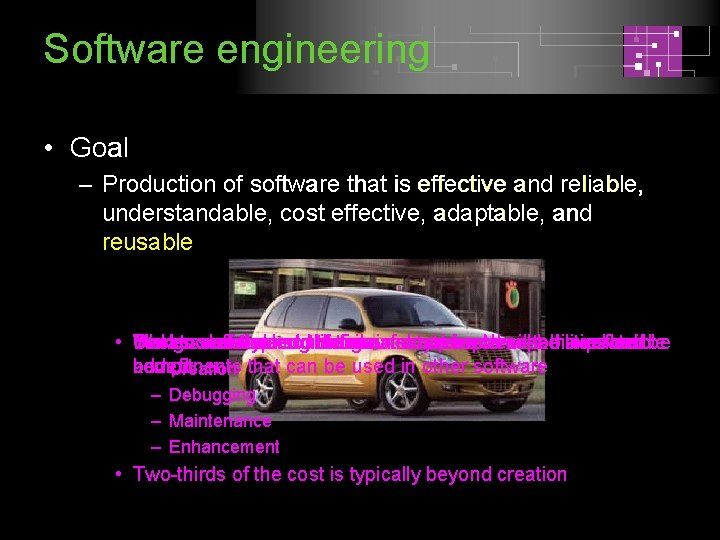 Software engineering • Goal – Production of software that is effective and reliable, understandable,