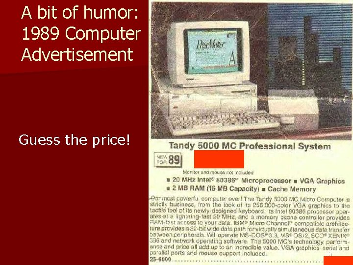A bit of humor: 1989 Computer Advertisement Guess the price! 55