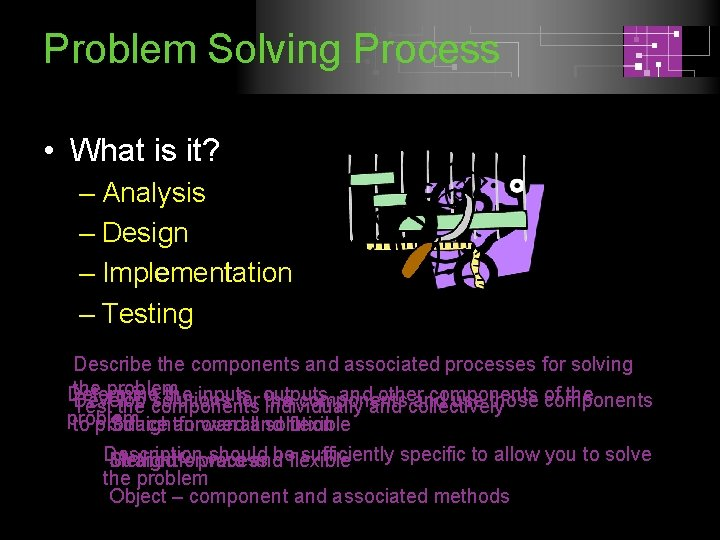 Problem Solving Process • What is it? – Analysis – Design – Implementation –