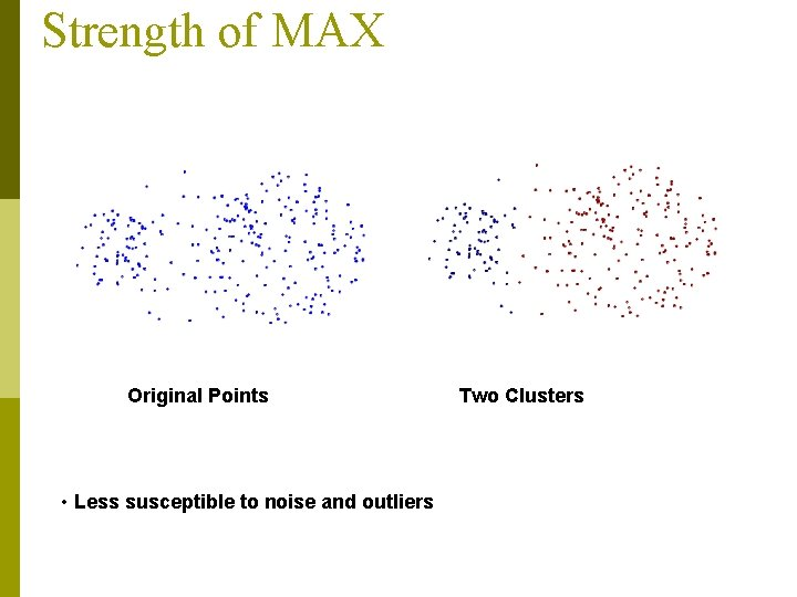 Strength of MAX Original Points • Less susceptible to noise and outliers Two Clusters