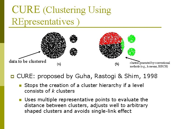 CURE (Clustering Using REpresentatives ) data to be clustered p clusters generated by conventional