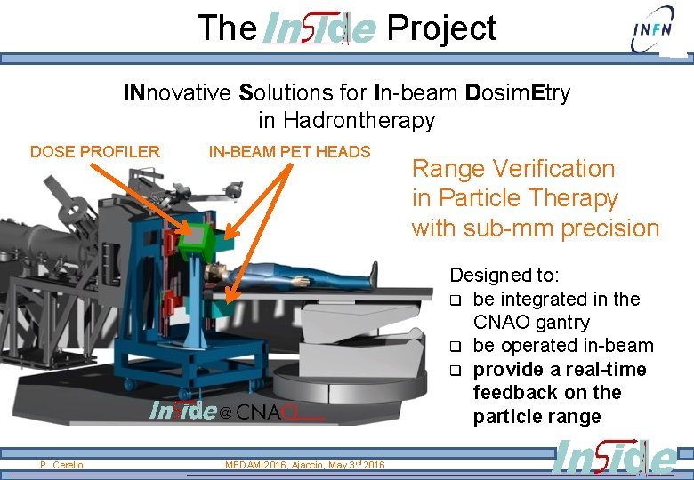 The Project INnovative Solutions for In-beam Dosim. Etry in Hadrontherapy DOSE PROFILER IN-BEAM PET