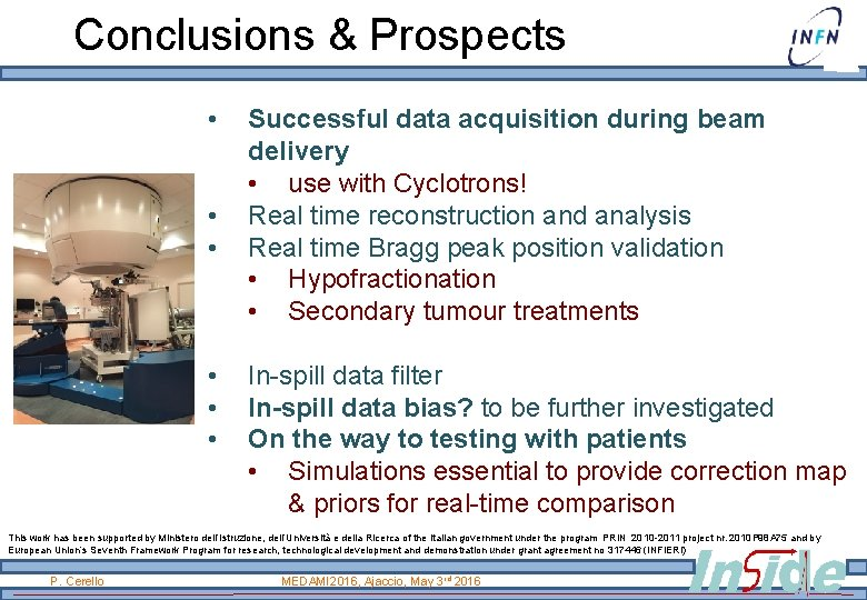 Conclusions & Prospects • • • Successful data acquisition during beam delivery • use