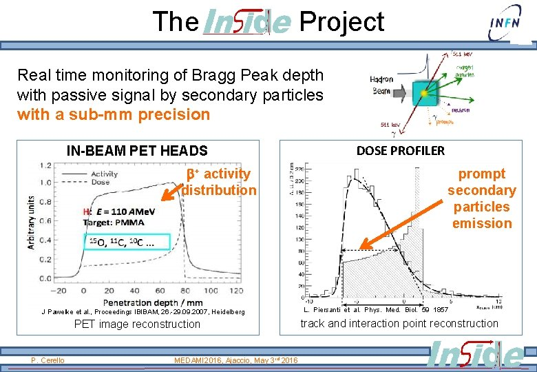 The Project Real time monitoring of Bragg Peak depth with passive signal by secondary