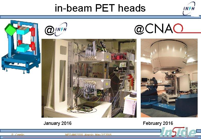 in-beam PET heads @ @ January 2016 P. Cerello MEDAMI 2016, Ajaccio, May 3