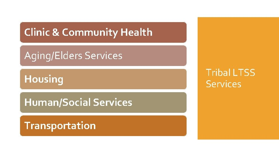 Clinic & Community Health Aging/Elders Services Housing Human/Social Services Transportation Tribal LTSS Services
