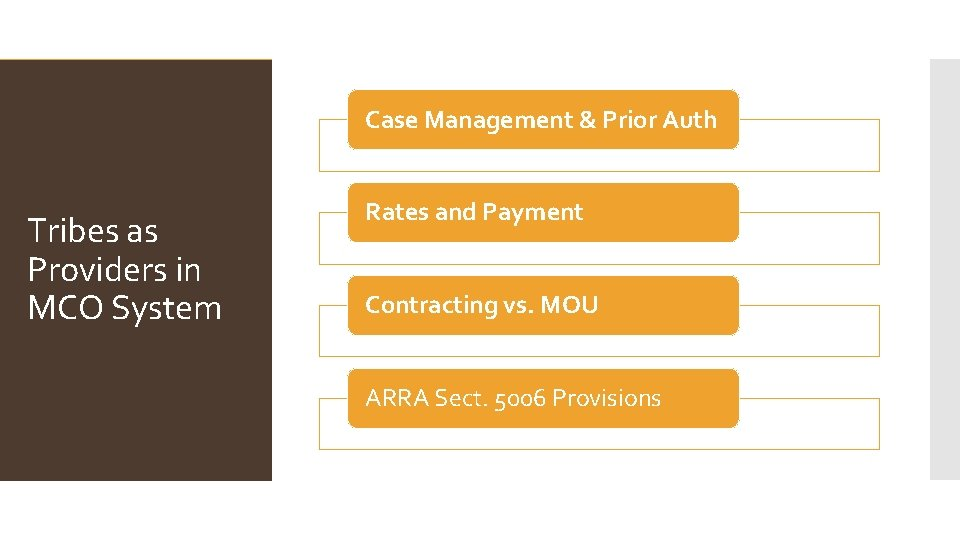 Case Management & Prior Auth Tribes as Providers in MCO System Rates and Payment