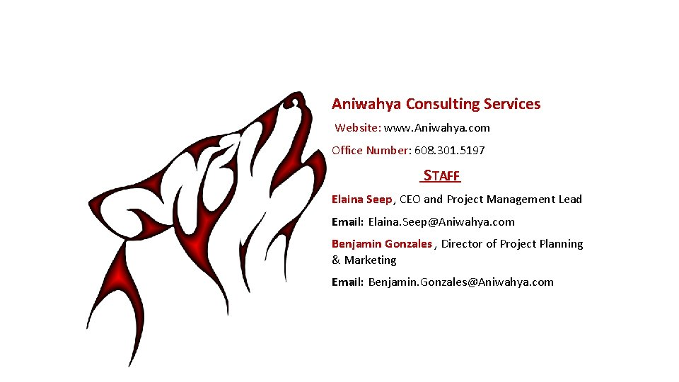 Aniwahya Consulting Services Website: www. Aniwahya. com Office Number: 608. 301. 5197 STAFF Elaina