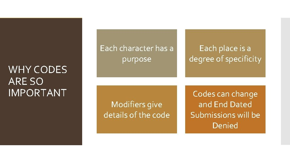 WHY CODES ARE SO IMPORTANT Each character has a purpose Each place is a