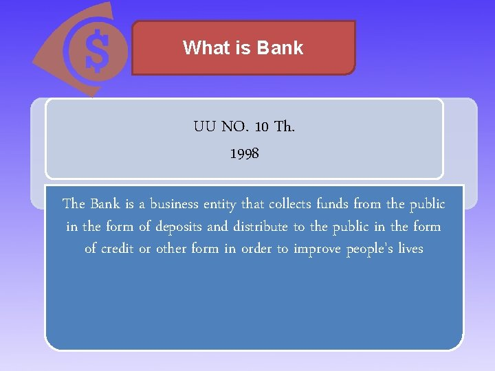 What is Bank UU NO. 10 Th. 1998 The Bank is a business entity