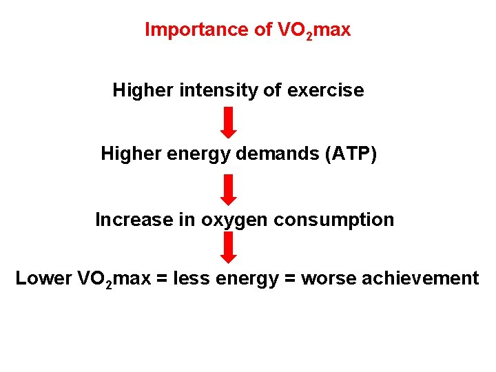 Importance of VO 2 max Higher intensity of exercise Higher energy demands (ATP) Increase