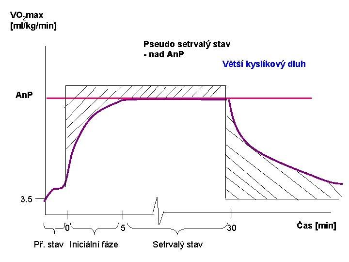 VO 2 max [ml/kg/min] Pseudo setrvalý stav - nad An. P Větší kyslíkový dluh