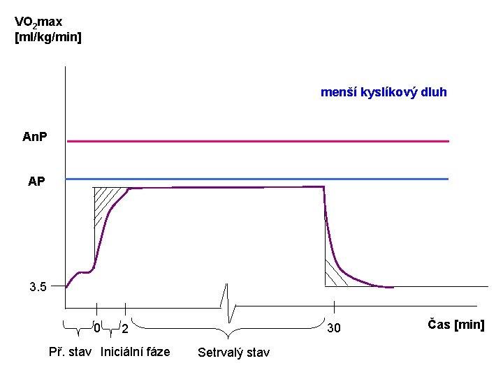 VO 2 max [ml/kg/min] menší kyslíkový dluh An. P AP 3. 5 0 30