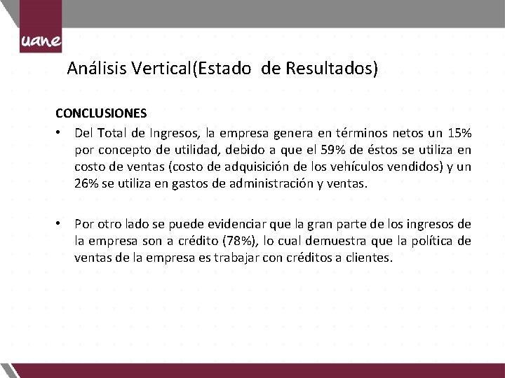 Análisis Vertical(Estado de Resultados) CONCLUSIONES • Del Total de Ingresos, la empresa genera en