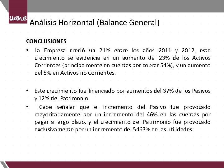 Análisis Horizontal (Balance General) CONCLUSIONES • La Empresa creció un 21% entre los años