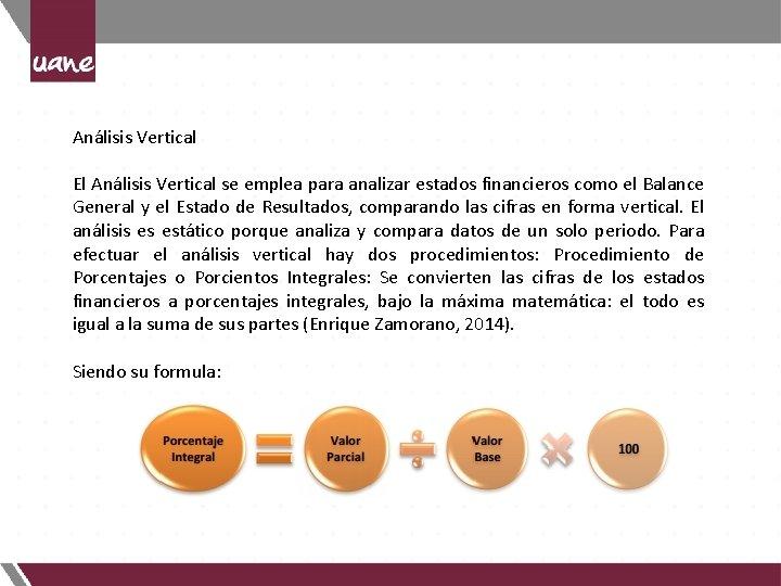 Análisis Vertical El Análisis Vertical se emplea para analizar estados financieros como el Balance