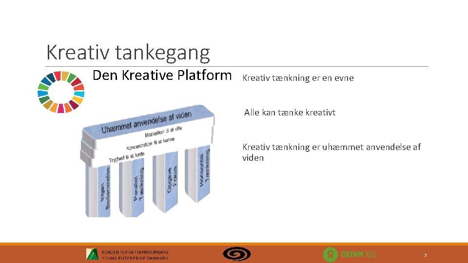 Kreativ tankegang Den Kreative Platform Kreativ tænkning er en evne Alle kan tænke kreativt