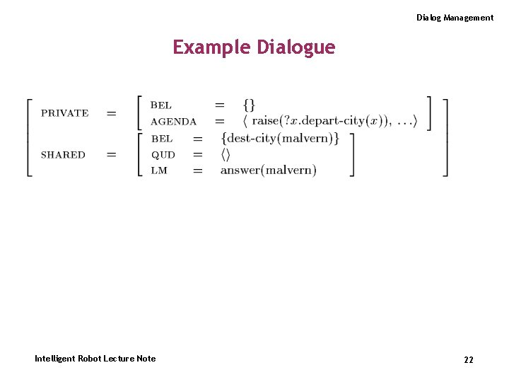 Dialog Management Example Dialogue Intelligent Robot Lecture Note 22