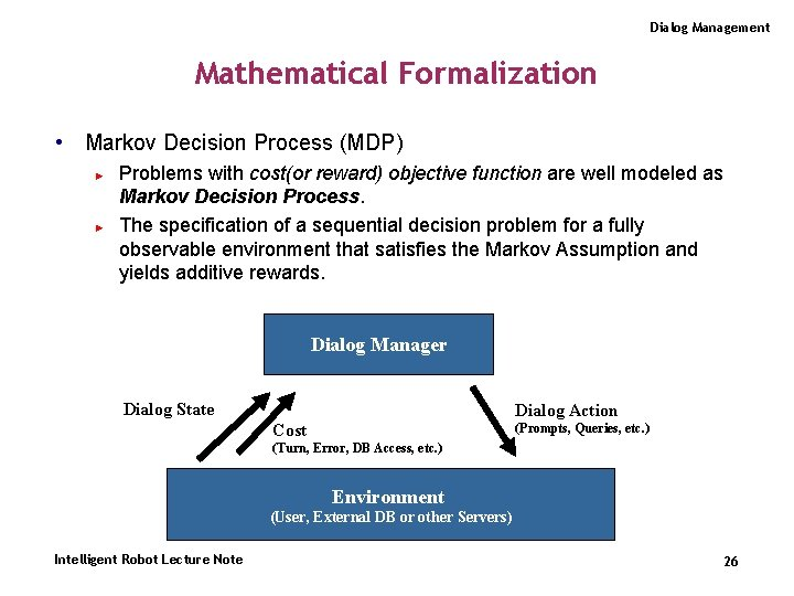 Dialog Management Mathematical Formalization • Markov Decision Process (MDP) ► ► Problems with cost(or